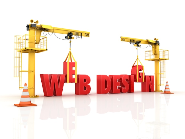 Cranes building the web design word