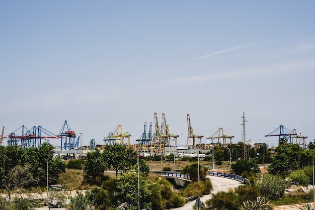 Cranes of longshoremen in the seaport of valencia in the mediterranean