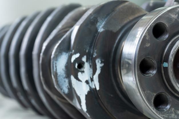 Crankshaft of the diesel engine on a white background