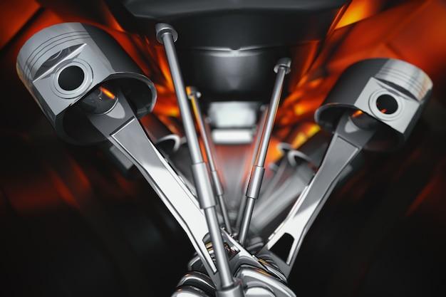 Crankshafts and pistons of automobile motor internal view