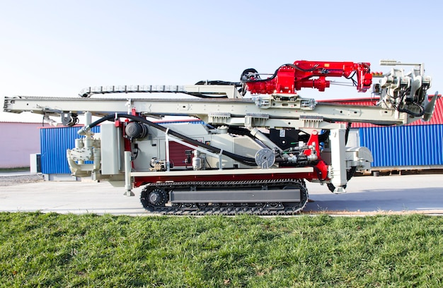 Crawler drilling rig. drilling of the wells. industry. mineral exploration.