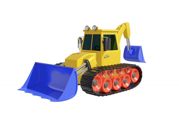 Crawler tractor with bucket cartoon style realistic design in pastel yellow, blue and red color