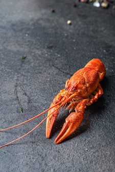 Crayfish fresh boiled crustaceans ready to eat meal snack on the table copy space food background