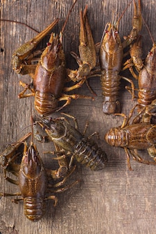 Crayfish fresh ready to cook raw product meal snack on the table copy space food background rustic