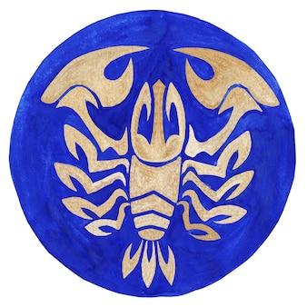 Crayfish zodiac symbol watercolor illustrationthe zodiac icon astrology raster image crayfish