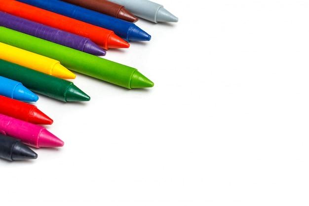 크레용. 다채로운 왁 스 연필
