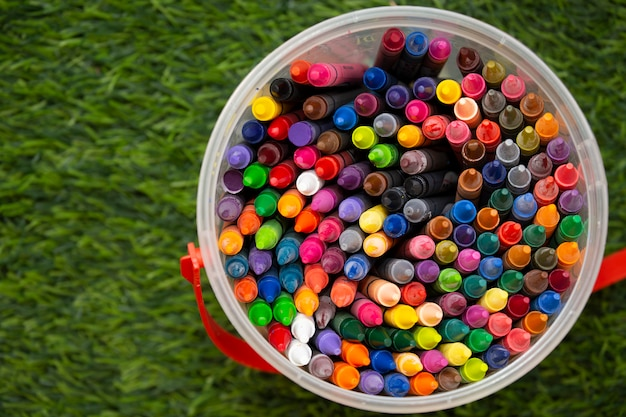 Crayons for learning.top view.