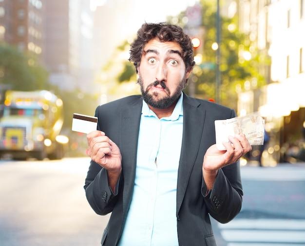 狂気のビジネスマン幸せそうな表情