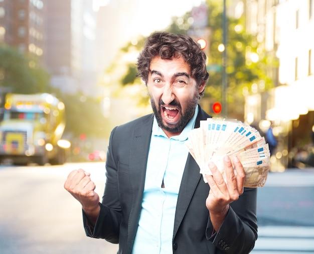 Crazy businessman happy expression