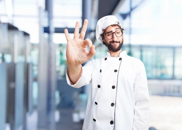 Crazy chef happy expression