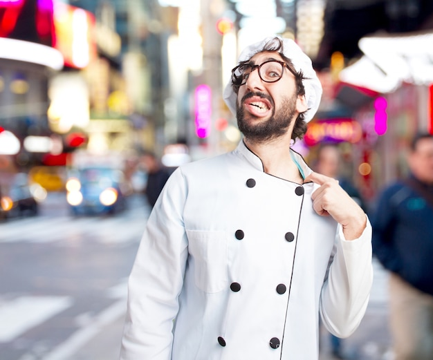 Crazy chef worried expression