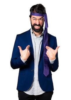 Crazy and drunk businessman making surprise gesture