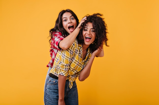 Crazy emotional girls are dabbling and having fun. woman laughs and plays hair of her mulatto girlfriend.