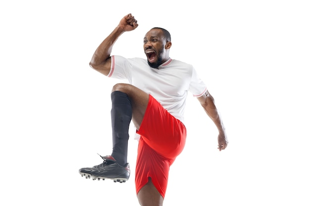 Crazy happy, run. funny emotions of professional football, soccer player isolated on white studio wall.