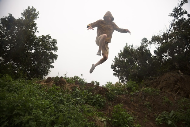 Crazy hiker jumping