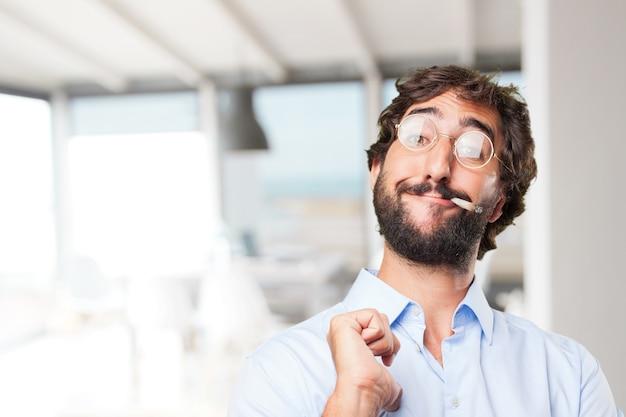 Crazy hippie man .happy expression