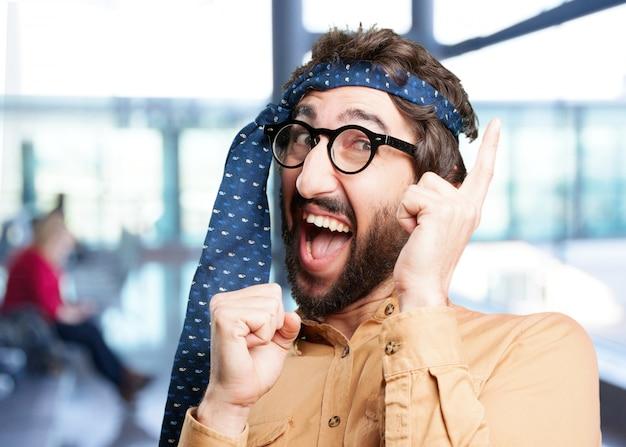 Crazy man dancing.funny expression