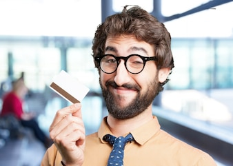 Crazy man with credit card.funny expression