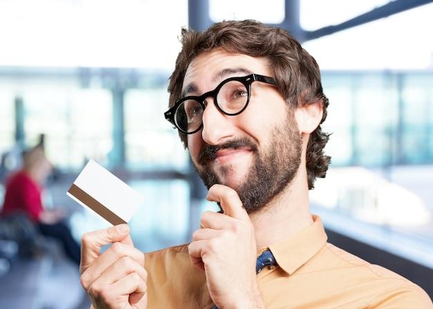 신용 카드와 미친 사람. 재미있는 표현