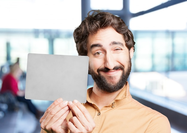 Crazy man with gray card. fun.funny expression