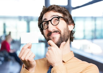 Crazy man with name card.funny expression