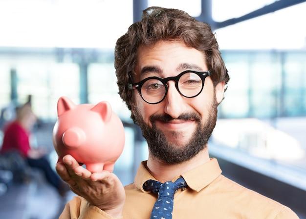 Pazzo con espressione piggy bank.funny