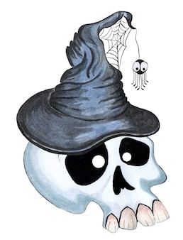 白い背景で隔離のハロウィーンの古い魔女の帽子のイラストで大きな歯を持つ狂った頭蓋骨