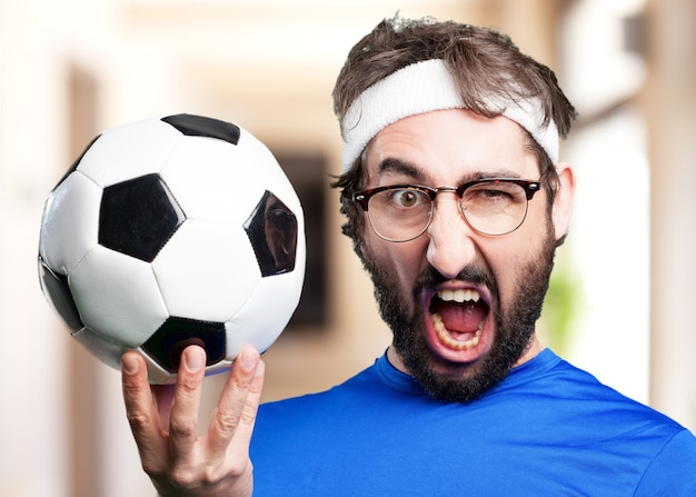 Crazy sports man.funny expression