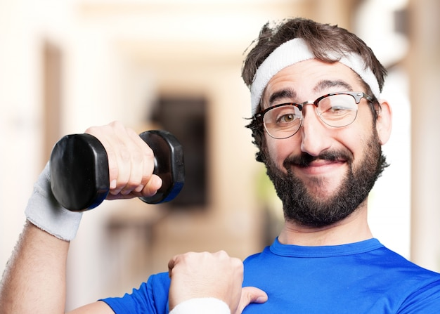 Crazy sports man.funny expression Free Photo