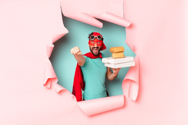 Crazy  super hero man. happy and surprised expression. take away fast food concept