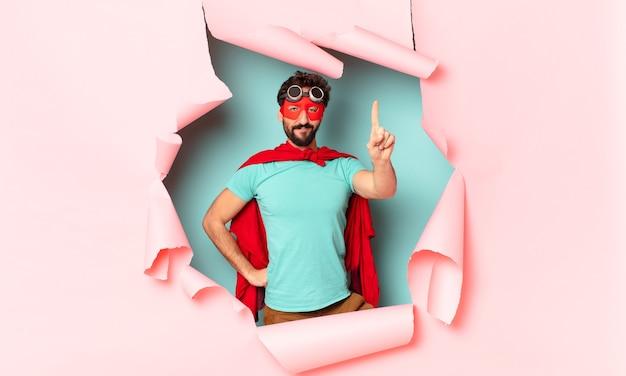 Crazy  super hero man proud exssion
