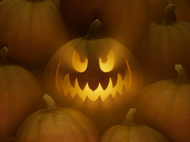 미친 와이드 아이드 스마일 조각 호박 얼굴 이모티콘 3d 그림 렌더링 어두운 조명