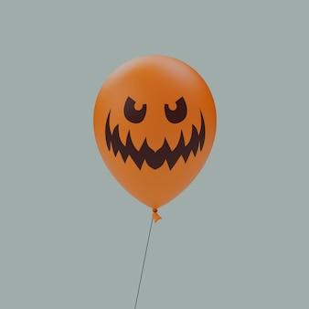 미친 와이드 아이드 미소 유령의 할로윈 무서운 만화 얼굴 풍선 이모티콘 격리 된 3d 렌더링