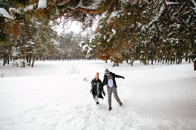 動物の面白い衣装で美しいカップルのクレイジーな冬の愛の物語。