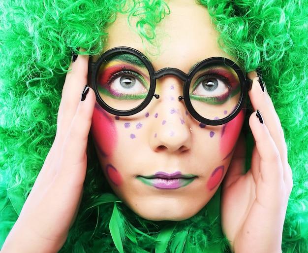 Crazy woman close up