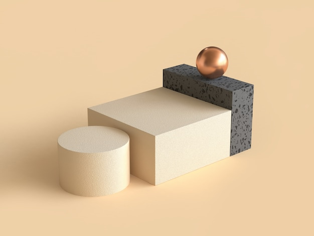 Cream black geometric shape gold sphere 3d rendering