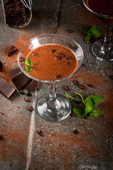 Cream coffee cocktail, chocolate martini