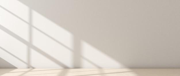 크림색 방, 밝은 크림색 나무 바닥. 그리고 창에서 들어오는 빛으로 장식하는 쇼룸 공간 아이디어