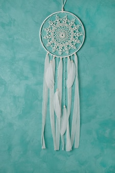 Cream crochet doily dream catcher