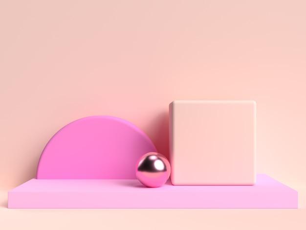 Кремовый розовый пастельный абстрактный 3d рендеринг сцены геометрической формы набор