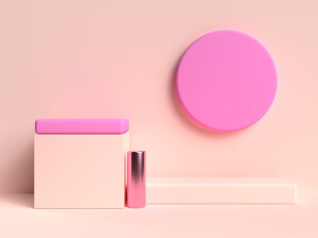 Cream pink pastel abstract 3d rendering scene geometric shape set