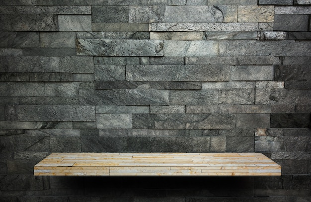 Cream rock counter shelf on wooden bark