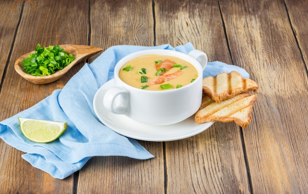Cream soup with salmon and green onion served with crispy toasts. copy space