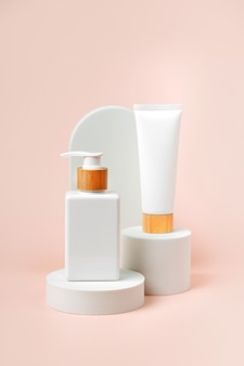 Cream tube and pump bottle mockup on podium with  arch on  beige  background