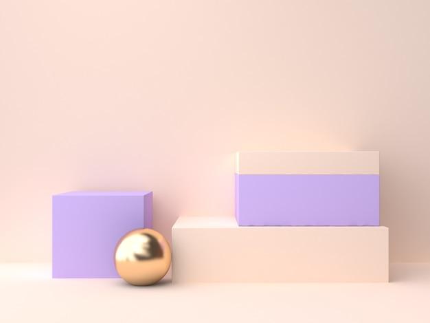 크림 제비꽃 벽 장면 기하학적 모양 빈 연단 3d 렌더링