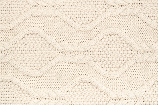 Cream wool crocheting with pattern