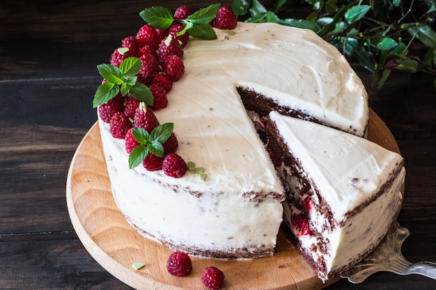 Creamy fruit cake. raspberry cake with chocolate. chocolate cake. mint decor. cheesecake.