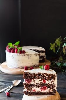 Creamy fruit cake. raspberry cake with chocolate. chocolate cake. mint decor. cheesecake.