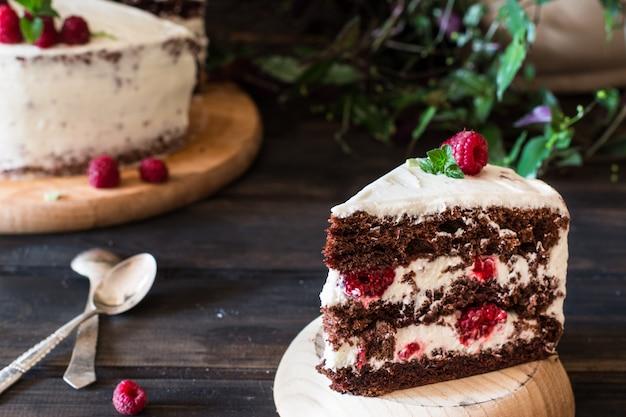 Creamy fruit cake. raspberry cake with chocolate. chocolate cake. mint decoration.