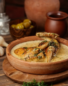 Creamy mushroom garlic sauce with grilled chicken and herbs